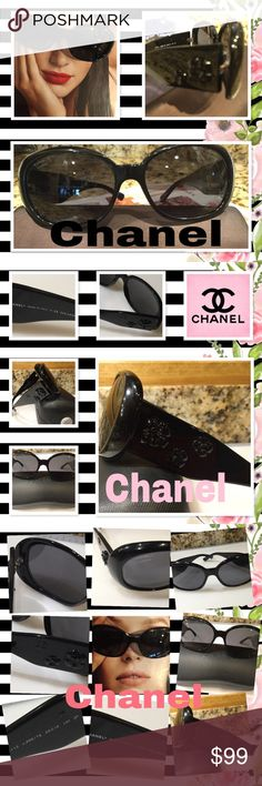 Chanel 5113 Polarized Black. Camellia Sunnies 9558 Authentic CHANEL 5113c..888/TB sunnies with black acetate, like new frames and dark gray oval shaped  Polarized lenses.  The lenses are 100% UV. The size is 56-16-113 mm. These are store displays and show wear. They are like new but not flawless. Lenses & frames. Show minimal scratches. Seen only under close inspection. Do not obstruct vision. Sunnies at in overall very good condition Serial # is laser etched in lens. The. Chanel name is…