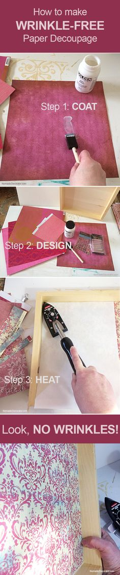 How to Make Paper Decoupage and Collage Art ... WITHOUT WRINKLES! Yay!