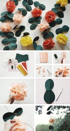 Pom-pom flower garland; tissue paper, craft paper, scissors, floral wire and twine.