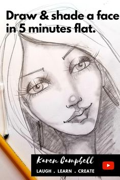 Have you always wanted to learn how to draw & shade a whimsical female face? It's easier than you think! Beginners or re Easy Drawings Sketches, Copic Drawings, Fairy Drawings, Mermaid Drawings, Simple Sketches, Drawing Journal, Drawing Tips, Drawing Tutorials, Sketching