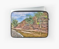 Rocks at Brachina Gorge, Flinders Ranges, Sth Australia Laptop Sleeves by TC-TWS.  A painting of a section of Brachina Gorge, South Australia, rock formations from the Cambrian era. The landscape is approximately 540 million years old.  Approx 480km (298 miles) north of Adelaide, SA. • Also buy this artwork on phone cases, apparel, home decor, and more.