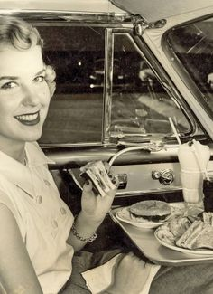 Dinner at the drive-in movie theater, 1952