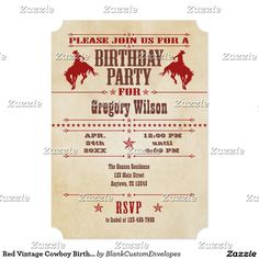 Red Vintage Cowboy Birthday Invitation