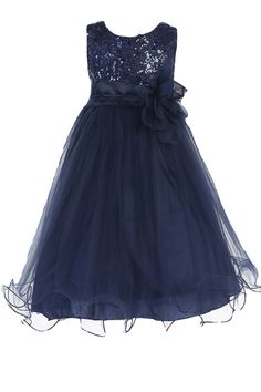 Navy Blue Sequins, Satin & 2 Layer Mesh Overlay Dress with Double Ruffle Hem (Baby Girls Sizes)