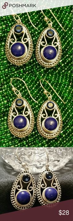 .925 Silver Blue Sapphire & Lapis Lazuli Earrings These beautiful Sterling Silver French Hook Earrings combine the sparkle of faceted Blue Sapphire with subtly gold  flecked Lapis Lazuli.   B6-E-017-123 Hand Crafted Jewelry Earrings