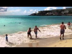 More people getting blown over at Maho Beach, St. Marteen, Princess Juliana Airport.