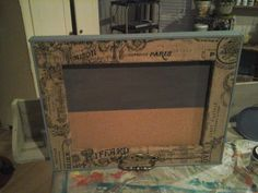 """For Sale: CHALKBOARD/CORKBOARD - 24"""" by 181/2"""" combo with burlap trim and powder blue perimeter.  Non smoking shop."""