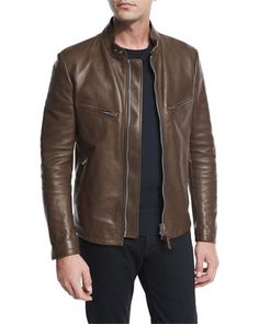 Leather+Café+Biker+Jacket,+Brown+by+TOM+FORD+at+Neiman+Marcus.