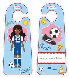 Girls United football soccer Lottie doll door hangers for kids #free #printables Download at www.lottie.com/create/