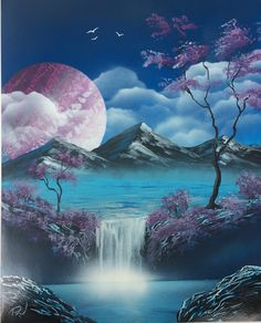 Purple planet over the lake, Canvas Painting Tutorials, Diy Canvas Art, Acrylic Painting Canvas, Beautiful Nature Wallpaper, Beautiful Paintings, Beautiful Landscapes, Landscape Art, Landscape Paintings, Spray Paint Artwork