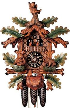 """Hones 20"""" 8 Day Carved Music 8607/5TBU Cuckoo Clock - A musical delight with detailed tradition! Furthermore, it is bear themed! The majestic kings of the Black Forest will watch over your house from the tops of hand carved and painted branches. The branches supporting the clock are a rich walnut color while the rest are hand painted green leaves. With the purchase of this clock you will also receive its official Black Forest Seal of authenticity."""