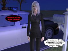 CALEB (thinking): And where, pray tell, is your governess? SYLVIA (thinking): Oh... there was kind of an emergency. The police came to investigate Courtley Manor.  #courtleymanor #psychics #police #investigation #policepsychic #gothic #sims2 #comic #sims #webcomic