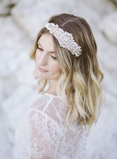 bridal headband - photo by Ashley dePencier Photography http://ruffledblog.com/dusty-blue-beach-wedding-inspiration