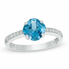 Zales 5.0mm Cushion-Cut Lab-Created Blue Sapphire and White Topaz Floral Ring in Sterling Silver kTG9A