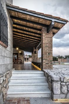 Pergola Attached To Roof Roof Design, Patio Design, House Design, Brick Architecture, Architecture Details, Mexico House, Stone Houses, Home Design Plans, Tropical Houses