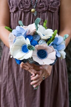 Custom Wildflower Felt Wedding Bouquet - Bridal - Alternative to fresh flowers - Beach Wedding or Winter Wedding -. $202.00, via Etsy.