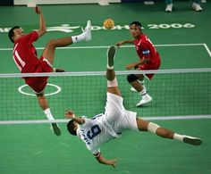 Sepak takraw. This is what happens when you fuse volleyball, soccer and kickboxing. With all it's back-flipping and fly-kicking, sepak takraw is the sort of sport you'd imagine ninjas to play. It requires great dextricity. It's a very popular sport in Malaysia.