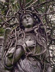 I love that this angel has been consumed by nature.