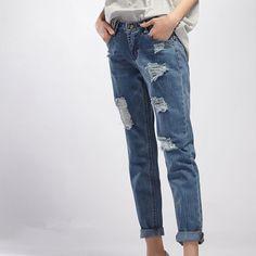 awesome #fashion #dress #apparel #clothing 2014 new winter fashion Korean women loose hole jeans wide leg pants Check more at http://www.boxgap.net/products/2014-new-winter-fashion-korean-women-loose-hole-jeans-wide-leg-pants/