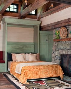 Murphy bed in a rustic mountain cottage