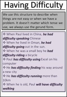 How to use to have difficulty. Ask Paul. Advanced English Grammar, English Grammar Rules, Learn English Grammar, English Vocabulary Words, English Idioms, Learn English Words, English Phrases, English Language Learning, English Writing