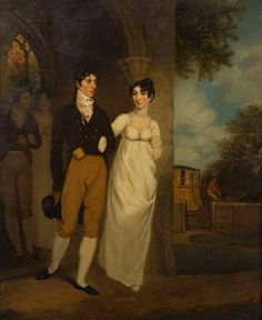 Joseph Clover, Portrait of the artist's brother and sister-in-law in the porch of Thwaite Church on their wedding day