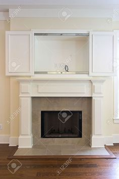 Fireplace With Open Cabinet For Flatscreen Tv. Can Be Paired.. Stock Photo, Picture And Royalty Free Image. Image 2186510.