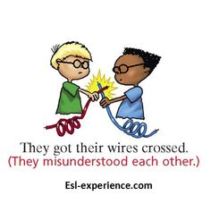 They got their wires crossed. Meaning: they misunderstood each other. #idiom #english