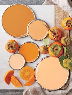 "These fall-inspired oranges can look great any time of year. How do you build a palette around these spicy shades? ""To create a larger color story, use multiple tones of persimmon rather than one specific shade. Mixing deeper and lighter shades tones down the individual shades and makes it easier for the eye to understand the palette as a whole,""  designer Emily Henderson says./"