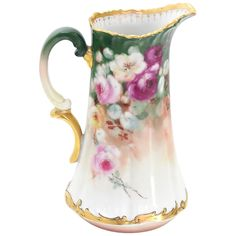 T&V France Floral Vase Shape Flower Painted Porcelain Pitcher