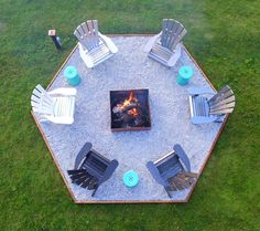 DIY Hexagon Shaped Fire Pit and DIY Ombre Adirondack Chairs (sponsored by The Home Depot). Modern Fire Pit Idea DIY with Fire Pit Seating. Love the Aqua Garden Stools! Diy Fire Pit, Fire Pit Backyard, Backyard Patio, Garden Fire Pit, Fire Pit Seating, Fire Pit Area, Fire Pit Chairs, Diy Ombre, Backyard Projects
