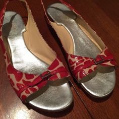 ab231a94a70 Kate spade GUC sling back peep toe flat Kate spade GUC sling back peep toe  flat red print with cream and silver buckle. Adorable☺ kate spade Shoes  Flats ...
