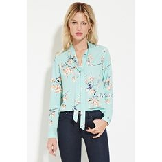 Forever 21 Women's  Tie-Neck Floral Print Blouse ($23) ❤ liked on Polyvore featuring tops, blouses, forever 21 blouse, forever 21 tops, floral print top, woven top and forever 21