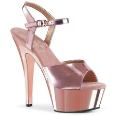 New PLEASER Sexy 6 Heel Rose Gold Chrome Platform Ankle Strap Sandal Womens Shoes. Fashion Women Shoes from top store Metallic Look, Metallic Heels, Crazy Heels, Rose Gold Chrome, 6 Inch Heels, Shoe Image, Ankle Strap Sandals, Platform, Leather