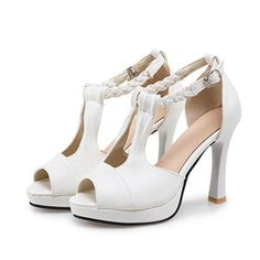 0442ff11ff0 Fabulicious BELLE-322 White T-Strap Sandal