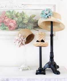 Lamp bases as hat stands, this is great. Between the vintage market, yard sales and value village I should be able to find some really ornate ones. :)