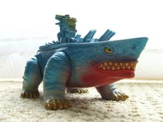 Yamaton - made by Yamanaya - Ultraman kaiju sofubi soft vinyl Japanese toy --- shark + battleship