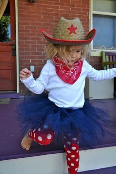 Halloween costume for little cowgirls who wear navy blue tutus