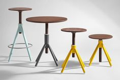 Thread Family by Coordination~seat lathed from walnut wood with welded steel base~many colors