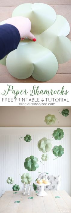 Creating your own paper shamrock decorations takes minutes! Tip: You can tape them to bare wall to create a photo backdrop!