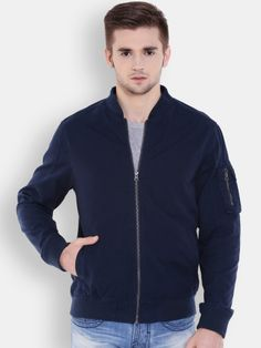 Winter Wear For Men, Bomber Jacket, Navy, Jackets, How To Wear, Stuff To Buy, Tops, Fashion, Down Jackets