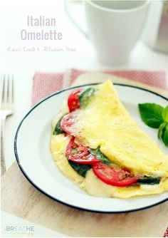 Easy, cheesy Italian omelette! A delicious and easy low carb omelette recipe that will have you looking forward to mornings! Gluten free, Keto and Atkins friendly!