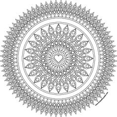 Heart sights mandala coloring page in jpg and transparent png format…