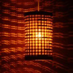 Sq.Net Cylinder Lamp(W.Brown) from KraftInn