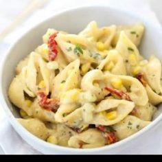 This unconventional variation of mac-n-cheese is made with shell pasta and a number of other non-traditional ingredients. This recipe contains nutritious ingredients such as corn and tomatoes that perfectly blend with the distinct flavors of Gouda and Fontina cheeses. This combination is a delicious way to add vegetables to recipes for kids who tend to be picky vegetable eaters.