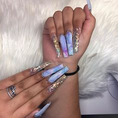 Bling Acrylic Nails, Aycrlic Nails, Best Acrylic Nails, Bling Nails, Acrylic Nail Designs, Swag Nails, Hair And Nails, Acrylic Toes, Stiletto Nails