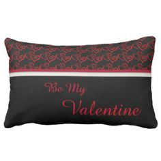 Red and Black Valentine Satin Throw Pillow