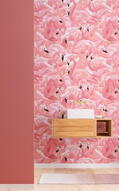 Flamingos are a big trend in interiors, and this painterly style flamingo pattern wallpaper will be sure to impress. Flamingo Wallpaper, Room Wallpaper, Pink Wallpaper, Pattern Wallpaper, Pink Flamingos Birds, Flamingo Bird, Murs Roses, Color Rosa Claro, Pink Color Schemes