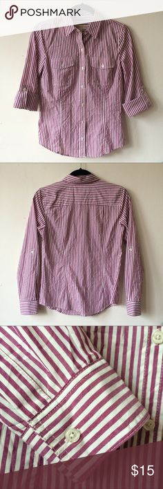 MICHAEL KORS plum stripe button down blouse A cute and cool collared button-down shirt with two front pockets. Has buttons on sleeves to convert from long sleeve to 3/4 sleeve. Plum purple and white vertical stripes. Size small. Excellent condition!! ✨ A perfect top for summer. ☀️ Michael Kors Tops Button Down Shirts