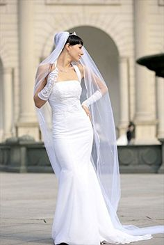 Bridal Veil White 2 Tiers Cathedral Length Satin Cord Edge Scattered Rhinestones *** Want additional info? Click on the image and link to Amazon.com